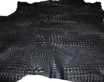 Italian textured lambskin Lamb Sheep leather 12 skins hides CROCODILE ALLIGATOR texture embossed on BLACK 80-90sqf