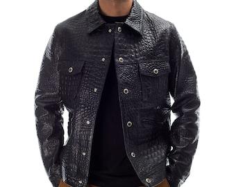 Italian handmade Men genuine lambskin leather jacket black alligator crocodile S to 2XL
