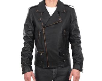 Italian handmade Men genuine lambskin leather biker jacket slim fit color black - brass hardware