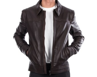 Italian handmade Men genuine lambskin leather jacket casual fit Dark Brown S to 3XL