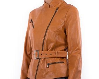 Italian handmade Women genuine soft lambskin leather biker jacket slim fit color Tan
