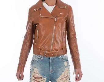 Italian handmade Women soft genuine lambskin lamb leather biker jacket slim fit color TAN DISTRESSED