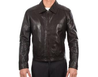 Italian handmade Men soft lambskin genuine leather jacket color Dark brown S to XL