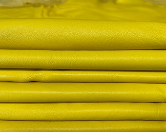 YELLOW SOFT Italian lambskin Lamb sheep leather hide hides pack 4 skins total of 40sqf 0.7mm #A8128