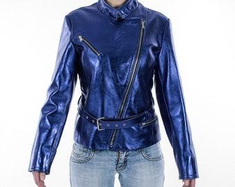 Italian handmade Women genuine lambskin leather biker jacket slim fit Metallic Blue