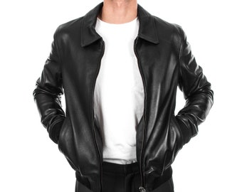 Italian handmade Men soft genuine lambskin Bomber leather jacket color BLACK S to 2XL