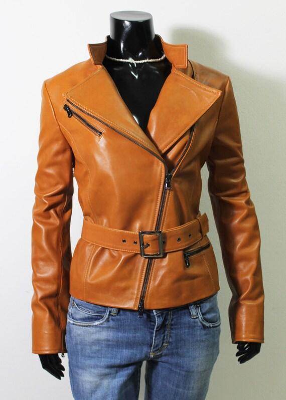 Italian soft lambskin slim genuine color fit handmade Women biker jacket leather Tan IZxrxB