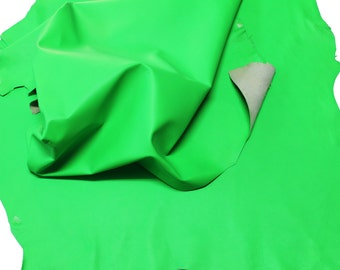 NEON GREEN FLASHY lime bright Italian Goatskin Goat leather skins hides  250sqf