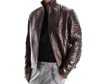 BRONZE ALLIGATOR CROCODILE Italian handmade Men genuine Goatskin leather jacket slim fit xs to 2xl