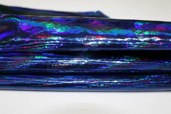 IRIDESCENT HOLOGRAPHIC HOLOGRAPHIC HOLOGRAPHIC BLUE Metallic Crinkled Patent Italian genuine Lambskin Lamb Sheep leather skins hides   Attrayant De Mode  bf3aa8