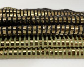 METALLIC BRONZE LINES textured Italian Goatskin goat leather pack 2 skins total 6sqf 0.6mm #A8524