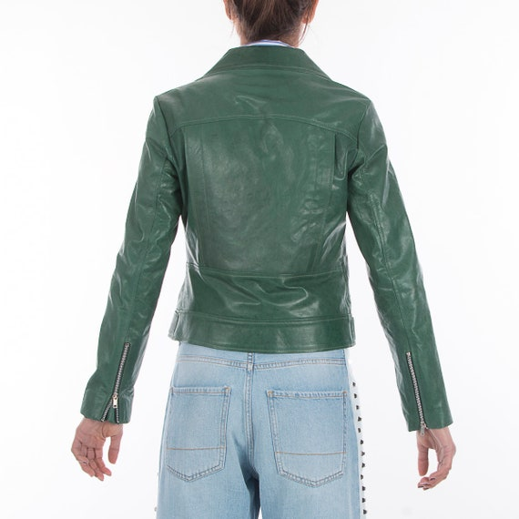 Women jacket Green genuine Italian leather Natural biker handmade slim fit qwBA5xAS