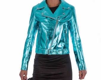 Italian handmade Women soft genuine lambskin lamb leather biker jacket slim fit color Metallic Turquoise Blue