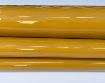 MUSTARD PATENT SHINY wet look strong Italian calfskin calf cow leather hide hides skin pack 2 skins total 5sqf 1.0mm #A8228