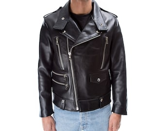 Italian handmade Men genuine lambskin leather biker jacket slim fit color black silver hardware S to 2XL