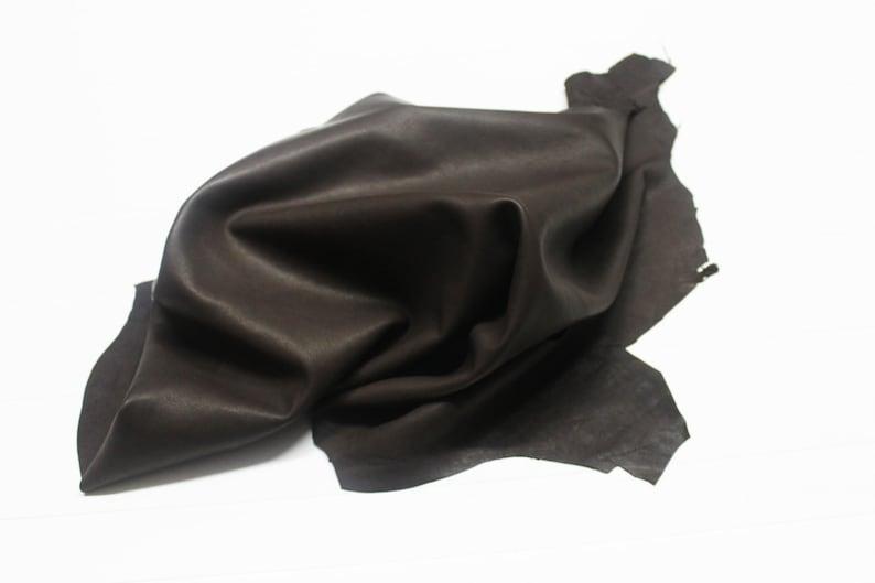 Italian soft Lambskin leather hide hides skin skins NATURAL DARK BROWN 5sqf  #A504