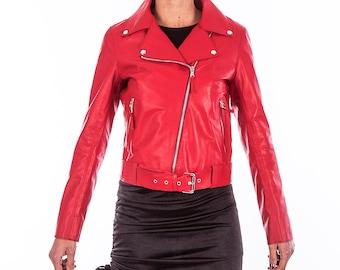 Italian handmade Women soft genuine lambskin lamb leather biker jacket slim fit color Red