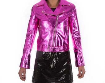 Italian handmade Women soft genuine lambskin lamb leather biker jacket slim fit color Metallic hot pink Fuchsia