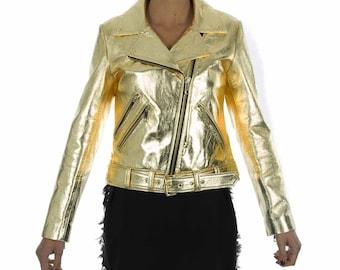Italian handmade Women genuine lamb leather biker jacket slim fit metallic gold