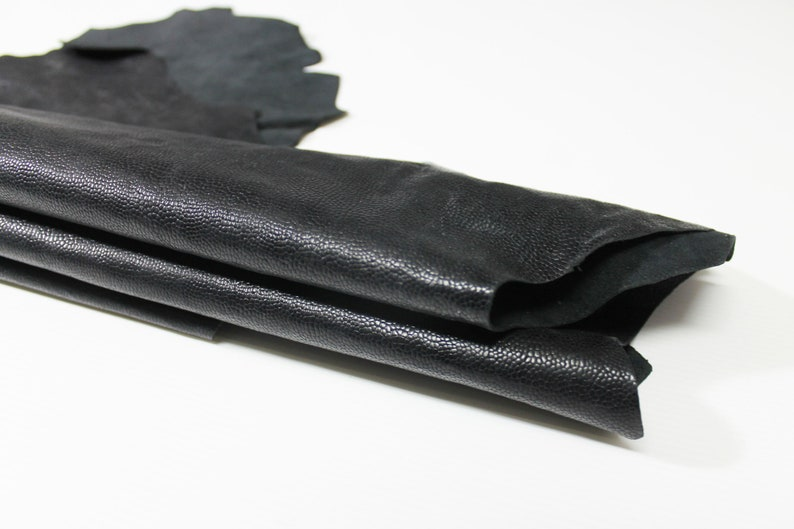 VINTAGE BLACK REPTILE Embossed textured stiff Italian Goatskin Goat leather material for sewing skin hide skins hides 7sqf 0.7mm #A4691