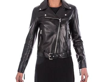 Italian handmade Women soft genuine lambskin lamb leather biker jacket slim fit color BLACK