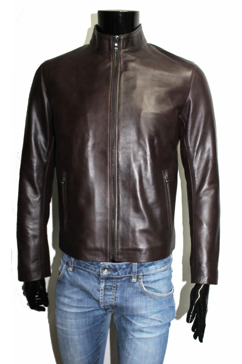 bd8d3ffed Italian handmade Men genuine lambskin leather jacket slim fit