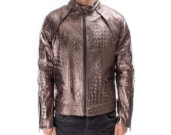 BRONZE ALLIGATOR CROCODILE Italian handmade Men genuine Goatskin leather jacket slim fit Xs to 3XL