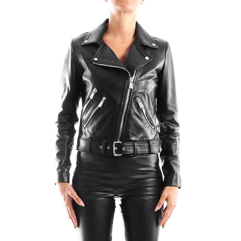 a044b3c71 Italian handmade Women genuine leather biker jacket slim fit smooth black
