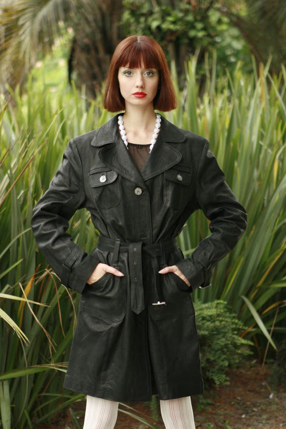 genuine belted Order order made Made coat lambskin Italy custom handmade leather Italian in trench Women customized lamb To XCXwqFA