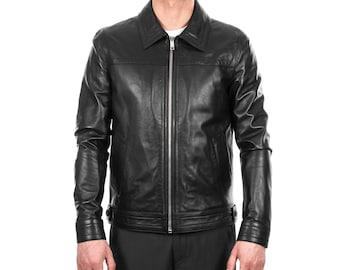 Italian handmade Men genuine lambskin leather jacket casual fit Black S to 3XL