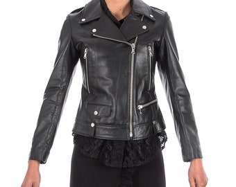 Italian handmade Women genuine leather biker jacket slim fit black