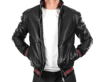 Italian handmade Men soft genuine lambskin Bomber leather jacket color Black S to XL