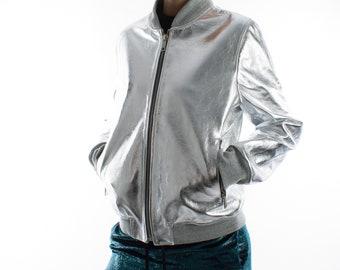 Italian handmade Women genuine lambskin leather bomber jacket METALLIC SILVER