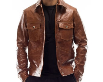 Italian handmade Men genuine lambskin leather jacket brown antiqued S to 2XL