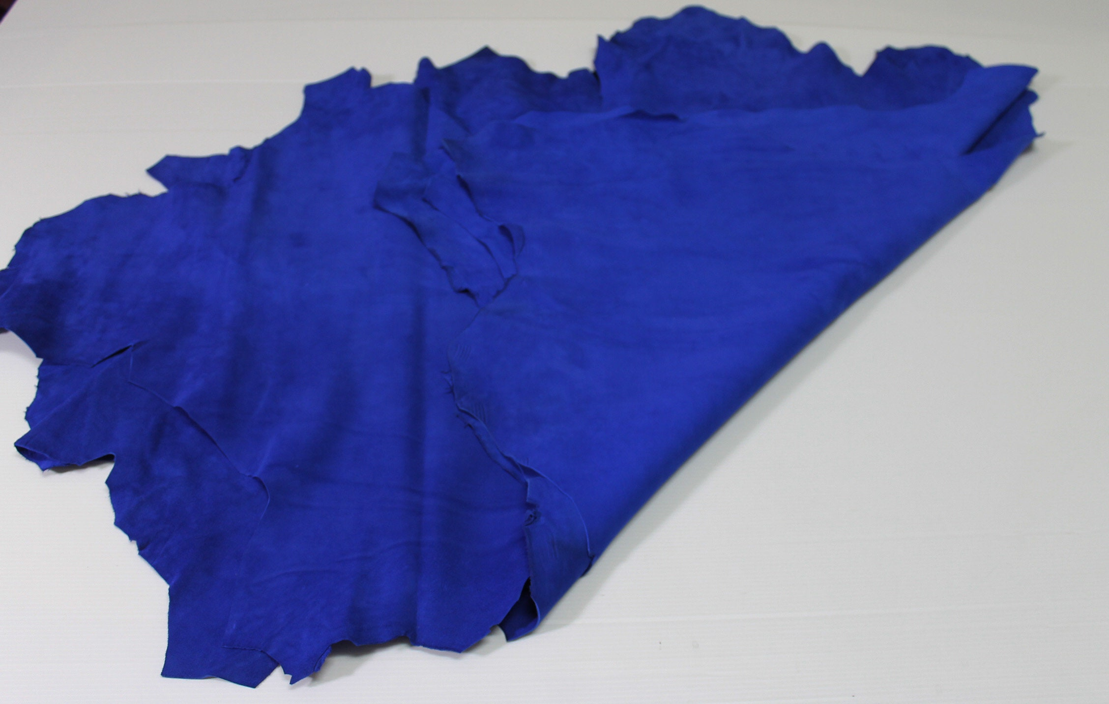 9e71833120a7 ROYAL BLUE SUEDE Italian genuine Lambskin Lamb Sheep leather skin ...