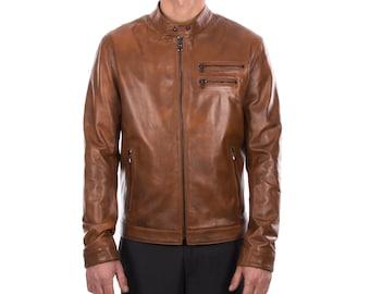 Italian handmade Fantastic slim fit Men soft genuine lambskin leather jacket color tan brown distressed S to 2XL