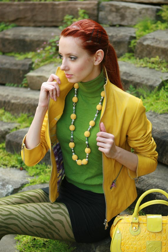 soft lambskin color leather Women Yellow genuine handmade jacket Italian qwgIEn