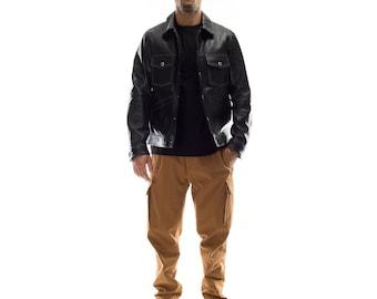 Italian handmade Men genuine soft lambskin leather jacket color black  S to 2XL