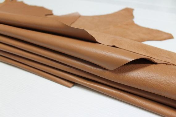 SIENNA SAND BROWN Italian genuine Lambskin Lamb leather skins 0.7mm 6-9sqf