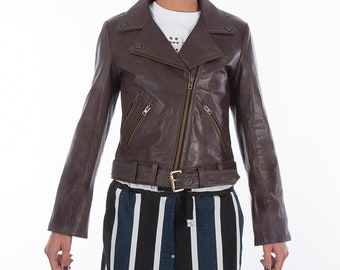 Italian handmade Women genuine soft leather biker jacket slim fit color Natural Dark Brown XS to 2XL