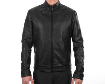 Italian handmade Fantastic slim fit Men soft genuine lambskin leather jacket color BLACK XS to 2XL