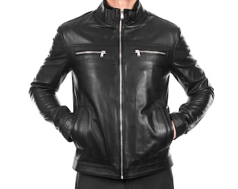 Italian handmade Men soft genuine lambskin leather jacket color Black S to 3XL