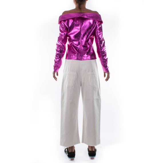 fuchsia Women size jacket color handmade sexy pink metallic Italian leather S decoltè genuine hot P1x5677w4q