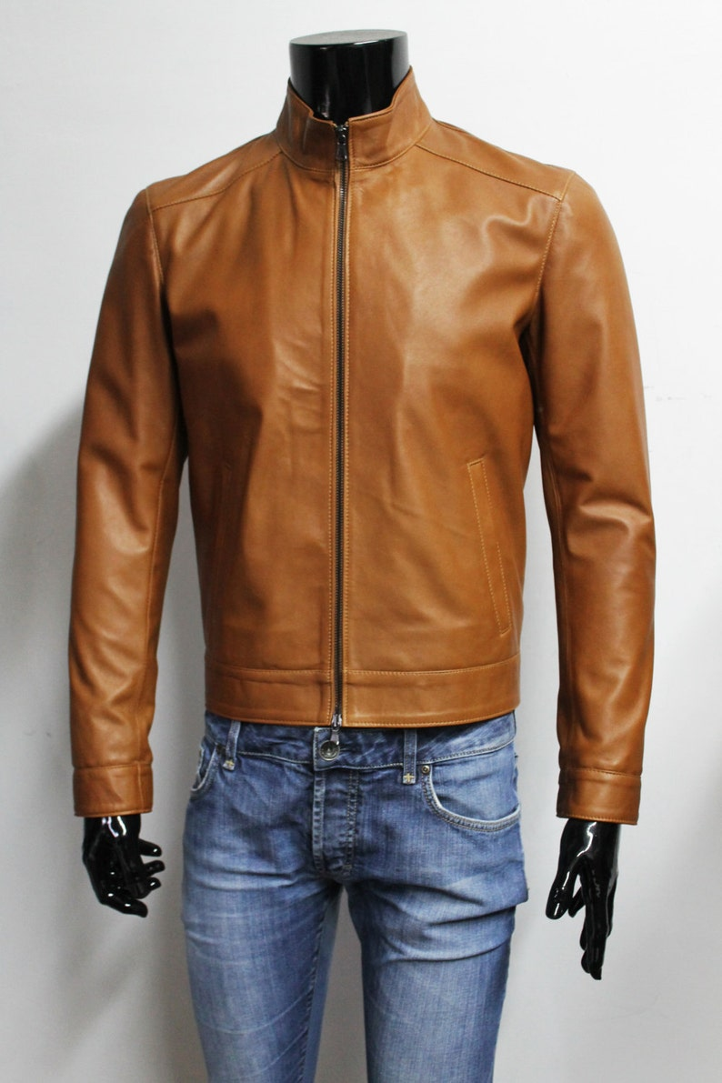 c19275316 Italian handmade Men genuine lambskin leather jacket color
