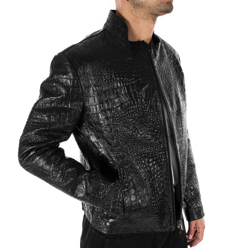 fbed06f95 Italian handmade Men genuine lambskin leather jacket alligator crocodile  Black