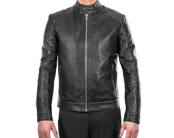 Italian handmade Men Petrol grey distressed Lamb lambskin grenuine leather biker jacket slim fit