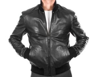 Italian handmade Men soft genuine Goatskin Bomber leather jacket color Black S to XL
