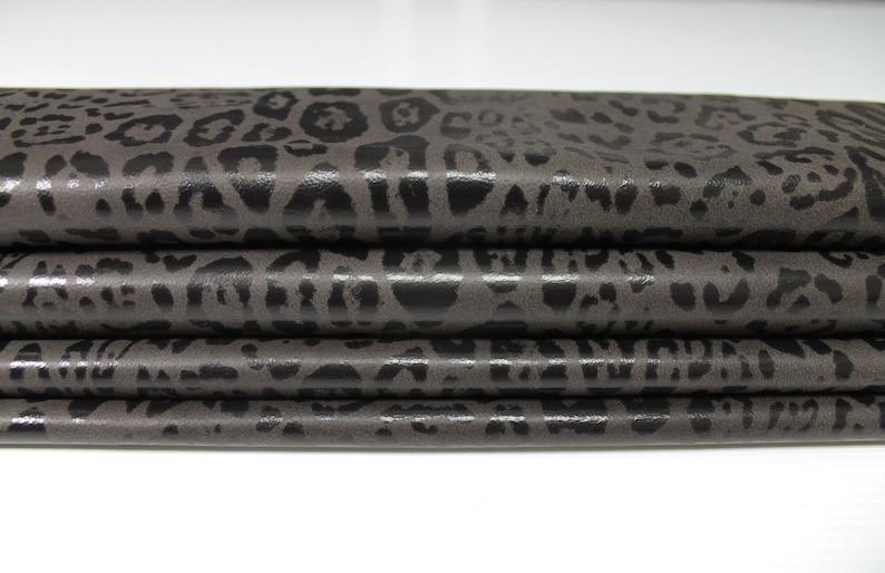 DARK BROWN LEOPARD print Italian Lambskin Lamb Sheep leather material for sewing skin hide skins hides 5-8sqf 0.7mm