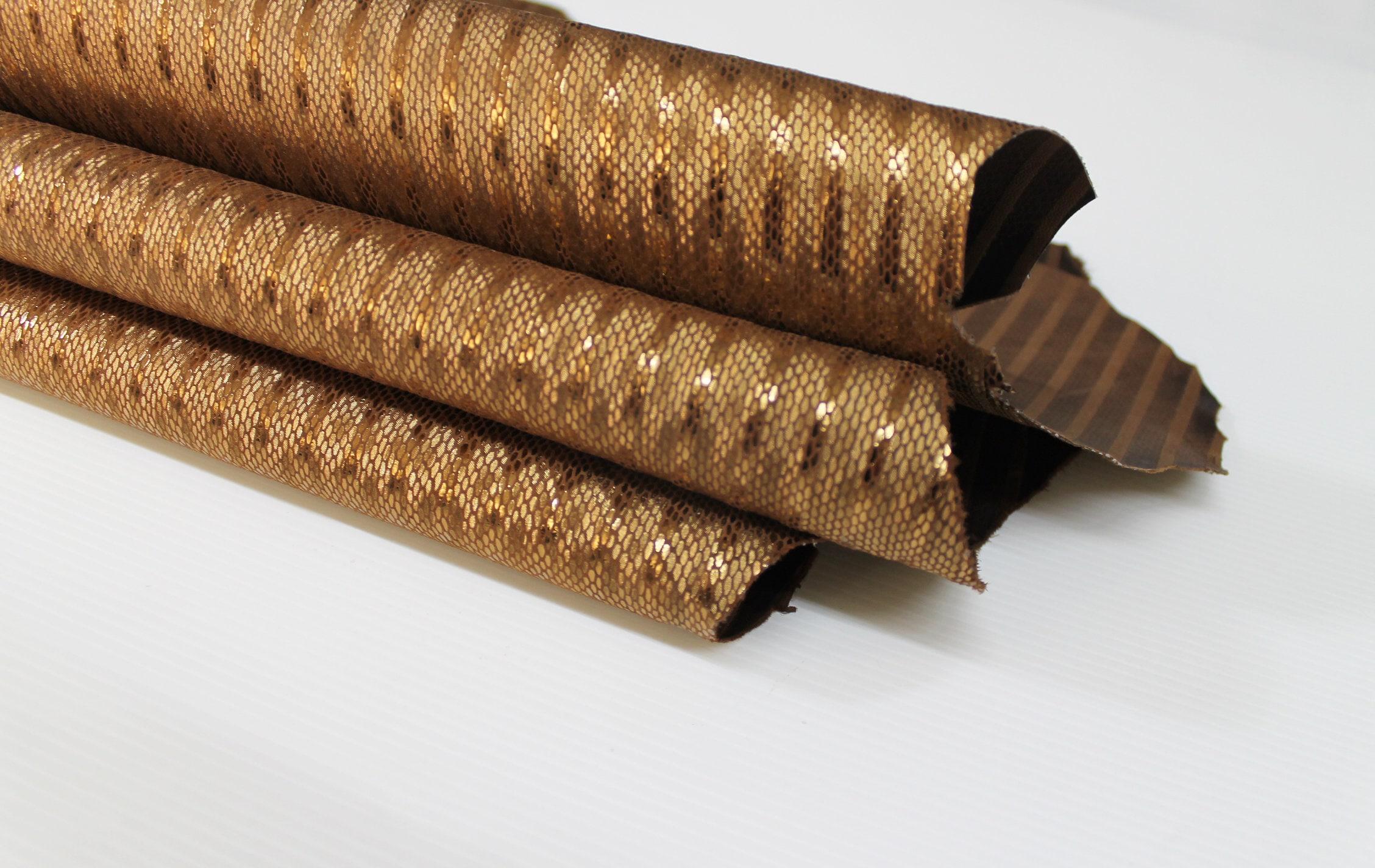 skin on fabric lining Old Bronze ITALIAN genuine SNAKE leather