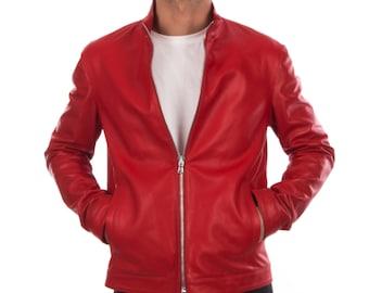 Italian handmade Fantastic slim fit Men soft genuine lambskin leather simple jacket color RED